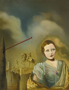 https://flic.kr/p/Raj5kd | Salvador Dalí - Paysage avec Femme [1934] | This painting is endowed with the same idiosyncratic iconography which defined the artist's finest works, including the disintegrating figures, the pole, the cavernous rock formation, the lone tower and the biomorphic sack, all rendered with pristine draftsmanship and luminous brushwork. In the tradition of Vermeer and Van Eyck, Dalí likely used a magnifying glass while composing this picture in order to render the…