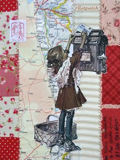 fabric scraps and paper collage mail art by Florence cathala/ illustration Joseph Christian Leyendecker
