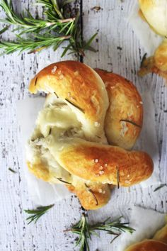 Brie-Stuffed Soft Pretzels with Sea Salt and Rosemary