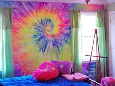 Wall Tapestry Bedroom Hippie Tie Dye New Ideas My New Room, My Room, Girl Room, Girls Bedroom, Hippie Bedrooms, Bedroom Ideas, Tie Dye Bedroom, Tie Dye Bedding, Rainbow Room