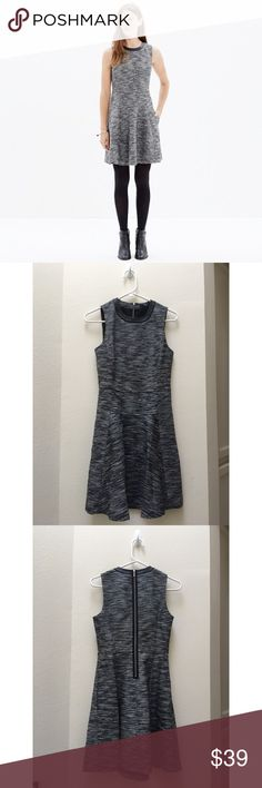 """Madewell The Anywhere Dress in Tweed PRODUCT DETAILS Brilliantly structured and in a zigzag weave, this simple but special dress is one you can reach for again and again (trimmed in leather, it's a fresh update to our best-selling style). Genius with ankle boots or sneakers.  True to size, waisted. Falls 36"""" from shoulder. Cotton/acrylic/poly. Pockets. Machine wash.  NOTE: THERE ARE A FEW SAFETY PIN HOLES ON THE INSIDE LINING. CAN'T BE SEEN FROM THE OUTSIDE AT ALL. Madewell Dresses"""