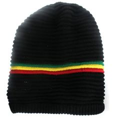 Rasta 100% Cotton Beanie - Black with Red, Green, and Yellow Stripes