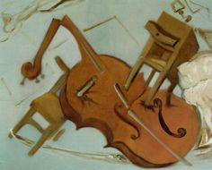 """dolphinshark:  """" Salvador Dali - Bed, Chair and Bedside Table Ferociously Attacking a Cello (1983)  """""""