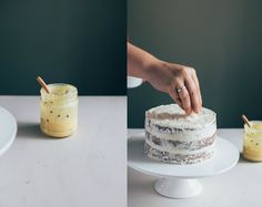 Naked Coconut Layer Cake with Passion Fruit Curd