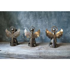 Silverplated Angel Candle Holders Set of Three Vintage Danish Modern... (€33) ❤ liked on Polyvore featuring home, home decor and holiday decorations