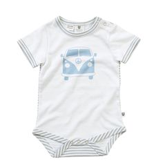 "Drive away in this super cute onesie, features combi van on front and grey and white mini stripes on reverse.  Pair it with the unisex grey/white stripe pants as a complete outfit. Snaps at neck and nappy openings. 100% Cotton ""A Layette range, Hoot Baby is for newborns thru to 12 months. Designed with heaps of personality, superior fabrics, and function in mind, Hoot Baby provides the ultimate in comfort and style"" $7.95 local shipping, free shipping on all Aust wide orders over $150!"