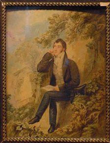 Robert Johnson   American, 19th century   SELF PORTRAIT   Watercolor and pencil on paper laid to panel   9 3/4 x 7 1/4 inches