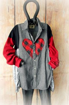 Set of 6 or 12 Handmade Boutique Shirts - Wholesale Eco- Friendly Clothing made from upcycled fabrics. Offer your customers something really special and unique with these fabulous art shirts with hearts! Each one is hand sewn in a mix of prints and colors. This rustic design has