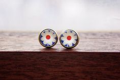 Blue red and white daisy flower glass dome stud by BeansAndPepper, £6.00