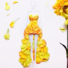 Student and fashion illustrator Grace Ciao creates unique fashion gowns by pressing real petals onto model illustrations without the use of ink, watercolor or pencil.