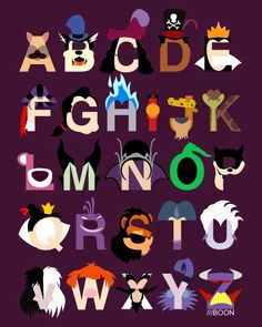 YES!! A Disney Villains alphabet!!! Mike BaBoon Design: Evil-phabet. A typographic tribute to all the animated villains you love to hate.