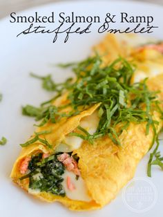 Smoked Salmon & Ramp Stuffed Omelet http://www.healthstartsinthekitchen.com/recipe/smoked-salmon-ramp-stuffed-omelet/?utm_campaign=coschedule&utm_source=pinterest&utm_medium=Hayley%20%40%20Health%20Starts%20in%20the%20Kitchen&utm_content=Smoked%20Salmon%20and%20Ramp%20Stuffed%20Omelet