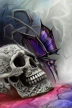 Skull And Butterfly Cross Stitch Chart Bn! Butterfly Cross Stitch, Butterfly Art, Purple Butterfly, Butterflies, Butterfly Design, Image Tatoo, Art Papillon, Totenkopf Tattoos, Skull Pictures