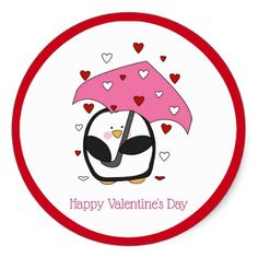 Penguin Valentine's Day Stickers - click/tap to personalize and buy