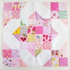 Here's your block for this month's #pinkquiltbee2018 @crochetingvixen. If there's anything you'd like changed, I am happy to swap it out or make another. It was awfully fun to put together! #alwayschoosepink #scrappymakesmehappy #scrappycrossroads #sewallthethings #compulsivemaker