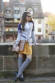 preppy. i love this look it is super cute. Wish I could wear yellow skirt!