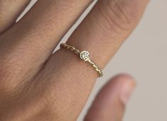 Twisted Ring Gold Rope Ring Rope Diamond Band by MinimalVS on Etsy