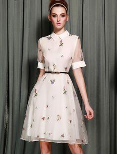 White Short Sleeve Lapel Embroidery Dress - Fashion Clothing, Latest Street Fashion At Abaday.com