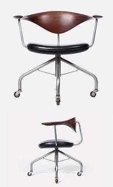 Swivel desk chair by Hans Wegner for Danish cabinetmaker Johannes Hansen, 1955