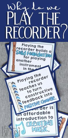 Love love LOVE these posters to help explain WHY we learn to play the recorder in music class. Brilliant!