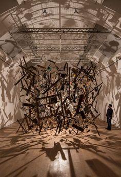 Cornelia Parker,Cold Dark Matter: An Exploded View - Photo, David LeveneThe Whitworth Gallery — Manchester Whitworth Gallery, Cornelia Parker, Exploded View, Shadow Art, Shadow Play, Exhibition Space, Dark Matter, First Art, Land Art