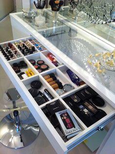 Ideas Bathroom Organization Makeup Storage For 2019 Bedroom Closet Design, Closet Designs, Bedroom Decor, Blue Bedroom, Bedroom Ideas, Closet Vanity, Vanity Room, Cabinet Closet, Makeup Room Decor