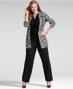 Wear What Works Plus Size Pants & Animal-Print Sweater Look - Plus Size Suits & Separates - Plus Sizes - Macy's