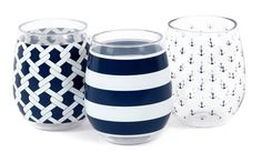 Set of 3 Nautical Shatterproof Stemless Wine Glasses | OceanStyles.com