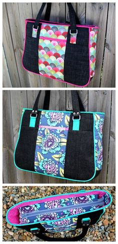 Free Tote Bag Patterns You Can Sew in a Day! Bag Patterns To Sew, Tote Pattern, Patchwork Patterns, Sewing Patterns, Patchwork Bags, Purse Patterns Free, Diy Bags Purses, Simple Bags, Easy Bag