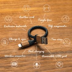 Woodie • Leather & Wood Reversible USB cable iPhone Android by NaturWerk — Kickstarter