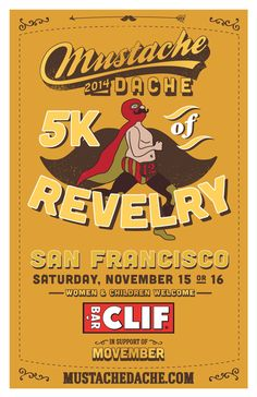 Mustache Dache is a franchised running event in 23 cities. We had the honor of designing the t-shirts, postcards, and poster design.