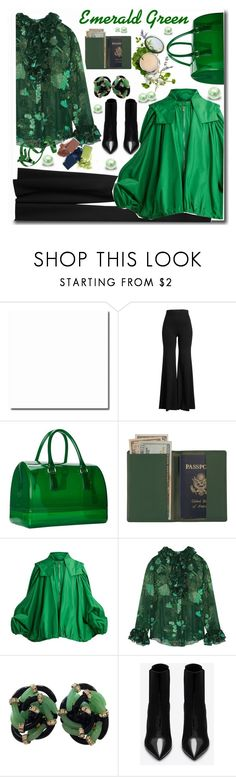 """""""Pops of green"""" by megalyssa ❤ liked on Polyvore featuring Rosetta Getty, Furla, Royce Leather, Valentino, Anna Sui, Mary Kay, Yves Saint Laurent, Origins, GREEN and emerald"""