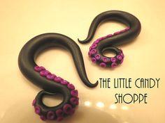 Black Purple Octopus Single Small Tentacle Curl Clay Ear Gauge Hook Earrings