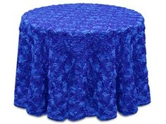 """Royal Blue Purple Satin Rosette Tablecloth. Sizes: Round 120"""", Round 132"""", Rectangle 90"""" x 132"""", Rectangle 90"""" x 156"""". Please contact me through Etsy for variety of colors. https://www.etsy.com/shop/Zemboor"""
