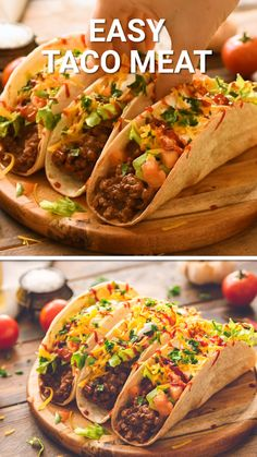 Quick and easy homemade taco meat using ground beef. The perfect amounts of seasonings to make your tacos the BEST! This is the perfect easy dinner recipe the entire family will love. Ground Beef Recipes Easy, Beef Recipes For Dinner, Meat Recipes, Mexican Food Recipes, Cooking Recipes, Chef Recipes, Nachos Mexicanos, Ground Beef Tacos, Ground Beef Street Tacos Recipe