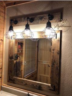 Rustic bathroom designs ESPRESSO Mirror And Light Set, Bathroom Set, Industrial Bathroom, Pendant Sh Primitive Bathrooms, Rustic Bathrooms, Modern Bathroom, Rustic Bathroom Lighting, Rustic Bathroom Fixtures, Bathroom Interior, Cabin Bathrooms, Rustic Cabin Bathroom, Cowboy Bathroom