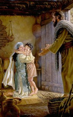 """A widow joyfully receiving her resurrected son from the prophet Elijah-""""See, your son is alive""""! Church Pictures, Religious Pictures, Bible Pictures, Christian Images, Christian Art, Catholic Art, Religious Art, Jesus Childhood, Elijah And The Widow"""