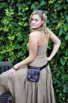 Leather Utility Belt with large pouch for your on the go needs - ERA