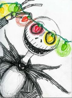 Disney-zumbie Nightmare Before Christmas Drawings, Nightmare Before Christmas Pumpkin, Tim Burton Sketches, Tim Burton Drawings, Tim Burton Artwork, Tim Burton Films, Tim Burton Art Style, Christmas Lights Drawing, Christmas Scene Drawing