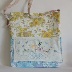 Bag vintage fabric yellow blue floral vase by roxycreations