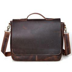 "Handmade Vintage Leather Briefcase / Messenger / 13"" 14"" 15"" Laptop 13"" 15"" MacBook Bag .. men women"