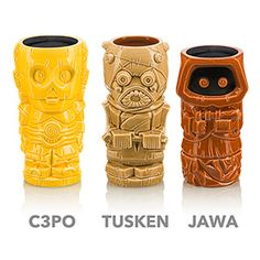 """Star Wars Geeki Tiki Mugs Take The Edge Off Our Summer-Long Thirst For """"The Last Jedi"""" Is there an endearing charm of summertime these kitschy Star Wars Geeki Tiki Ceramic Mugs don't honor in fine nerdy fashion? Wiki Tiki, Tiki Glasses, Tusken Raider, Star Wars Girls, Star Wars Costumes, Clone Trooper, Last Jedi, Love Stars, Star Wars Art"""