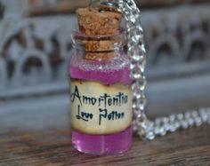 Handmade Amortentia love potion small Potion Bottle Necklace - Harry Potter