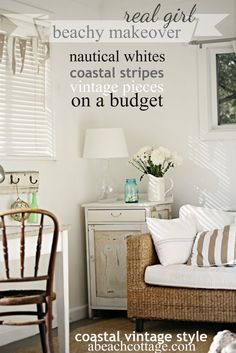 Summer House Style - a coastal, nautical makeover on a budget - thrifted furniture, coastal bits and bobs, rustic textures and nautical stripes     abeachcottage.com