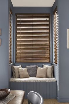 Matte powder blues are right on trend for interiors. Add natural tones and textures to add a lovely wholesome look. Our Warm Walnut Wooden blind is perfect for this look.