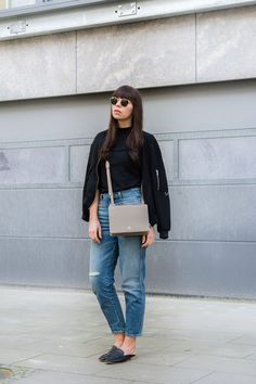 "outfit details: bomber jacket – Zara basic shirt – Funktion Schnitt jeans – Closed ""Pedal Icon""  bag – Aigner Ivy mules – Topshop  sunnies – Ray-Ban ""Round Metal"""