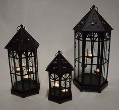 Dekobote, Metall Laternen 3er Set H 52/42/27 cm Windlicht Kerzenhalter Teelicht