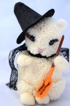 Woolen Pom Pom Halloween Squirrel Witch by innercreatures #halloween #wool #witch