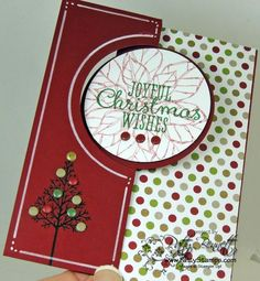 www.PattyStamps.com Joyful Christmas poinsettia and Warmth & Wonder hostess set circle thinlit flip card
