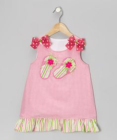 Take a look at this Hot Pink Flip-Flop Gingham Dress - Infant, Toddler & Girls by Wiggles and Giggles on #zulily today!